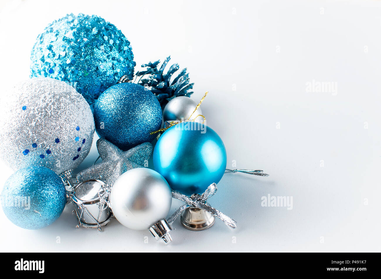 christmas background gift box blue and silver balls star and toys blue - Blue And Silver Christmas