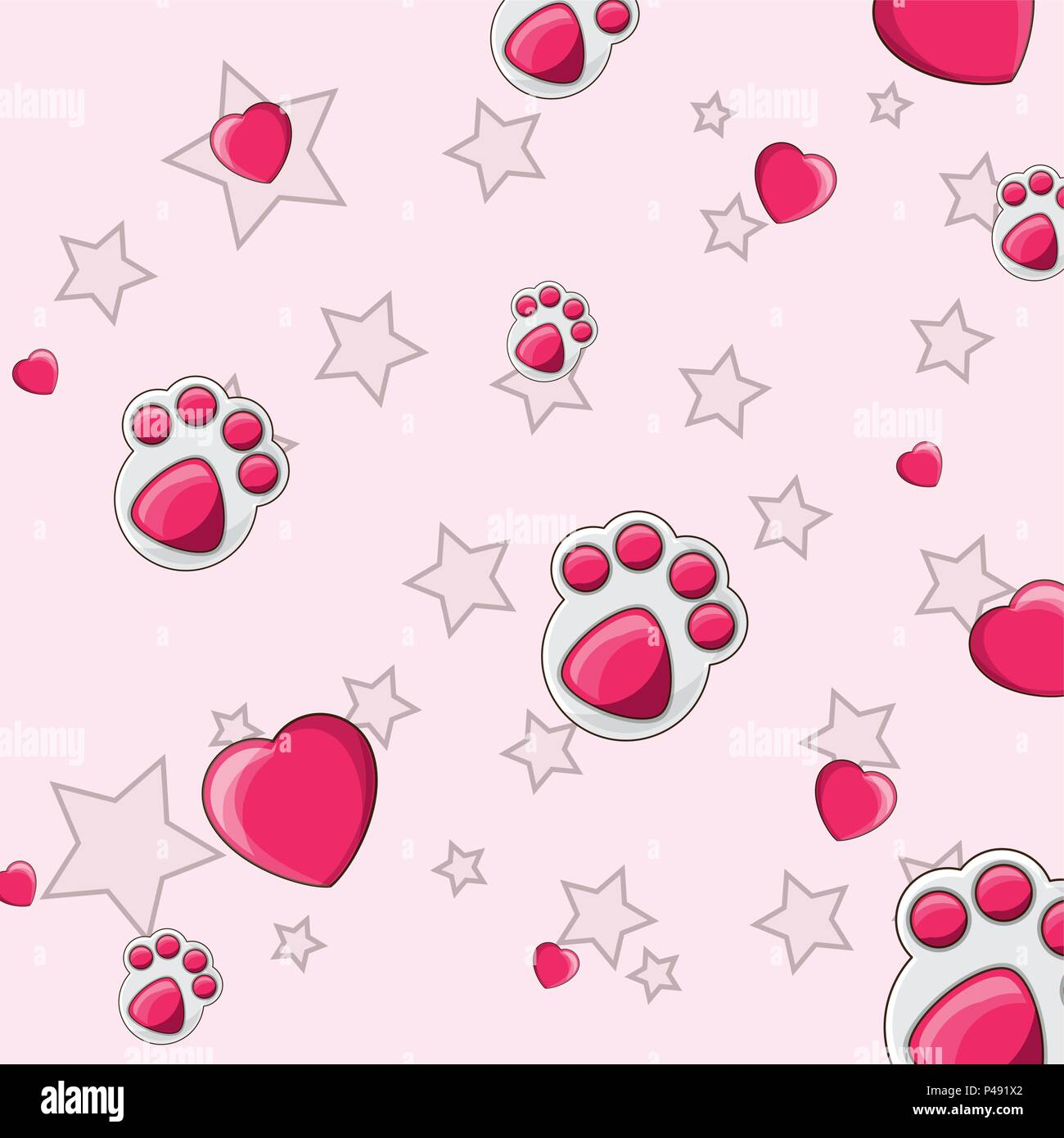 dog footprint and hearts pattern, colorful design.  vector illustration - Stock Vector