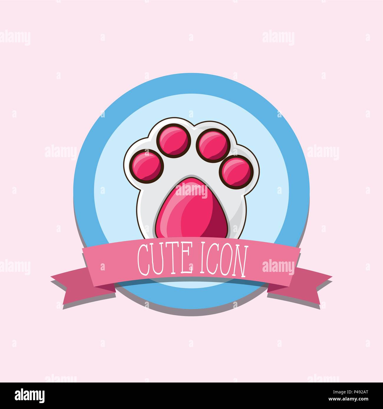 emblem with dog footprint over pink background, colorful design. vector illustration - Stock Vector