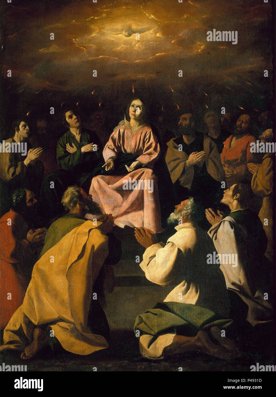 Spanish school. Pentecost. Pentecostes. Cadiz, archeology and Fine Arts museum. Author: Francisco de Zurbaran (c. 1598-1664). Location: MUSEO DE CADIZ-BELLAS ARTES, CADIZ, SPAIN. - Stock Image
