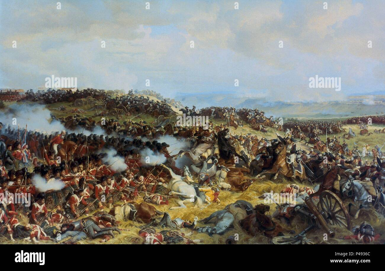 Henri Félix Emmanuel Philippoteaux / 'The Battle of Waterloo: The British Squares Receiving the Charge of the French Cuirassiers', 1874, Oil on canvas. Author: Henri Félix Emmanuel Philippoteaux (1815-1884). Location: MUSEO WELLINGTON / ASPLEY HOUSE, LONDON, ENGLAND. Stock Photo