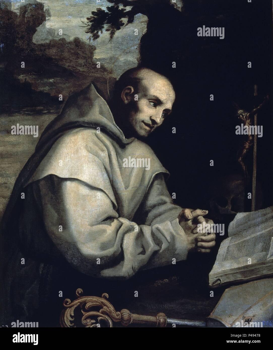 SAN BRUNO EN ORACION. Author: Vincenzo Carducci (c. 1576-1638). Location: MUSEUM OF FINE ARTS, MALAGA, SPAIN. - Stock Image