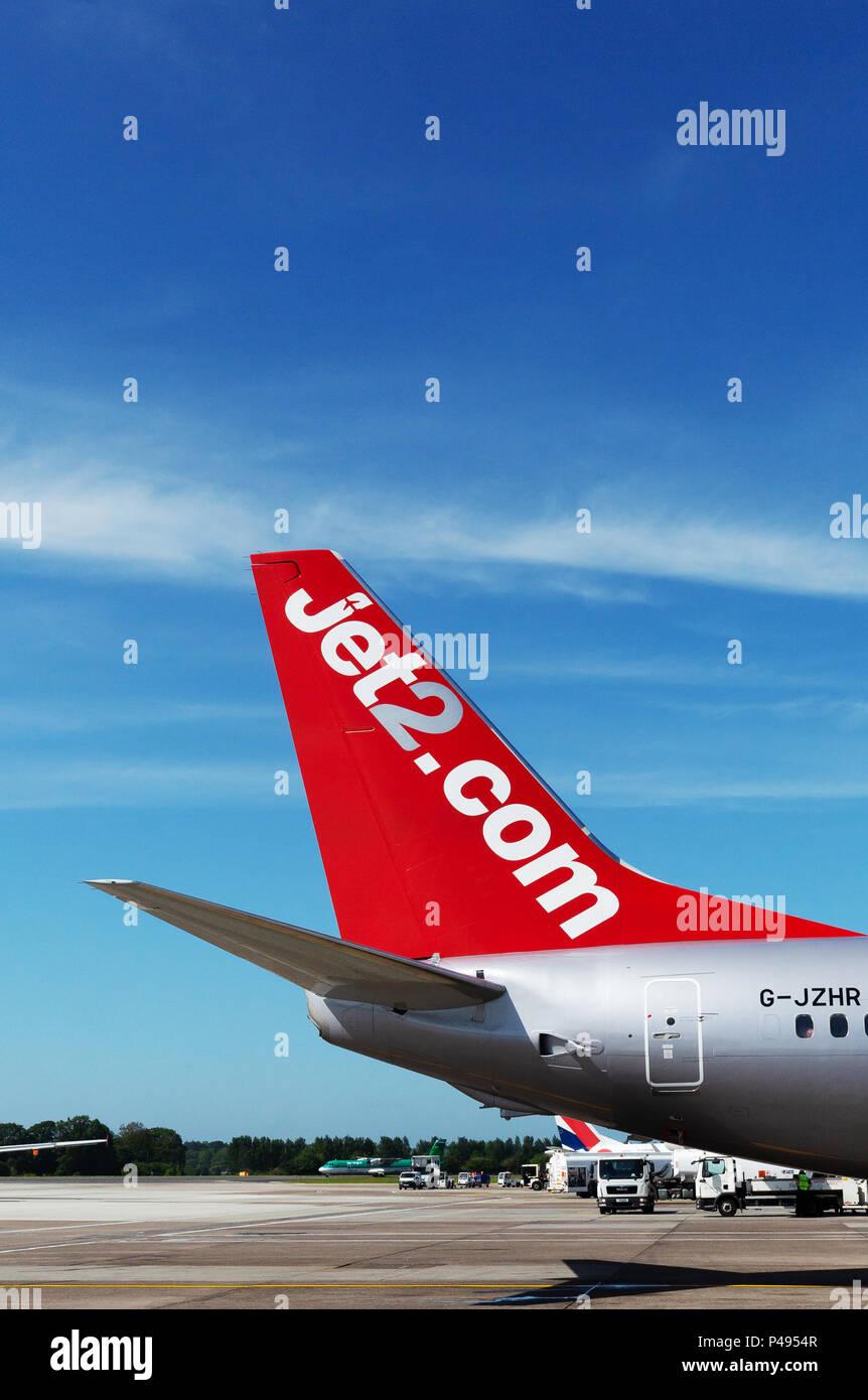 Jet2.com tailplane, jet2 airline - Stock Image