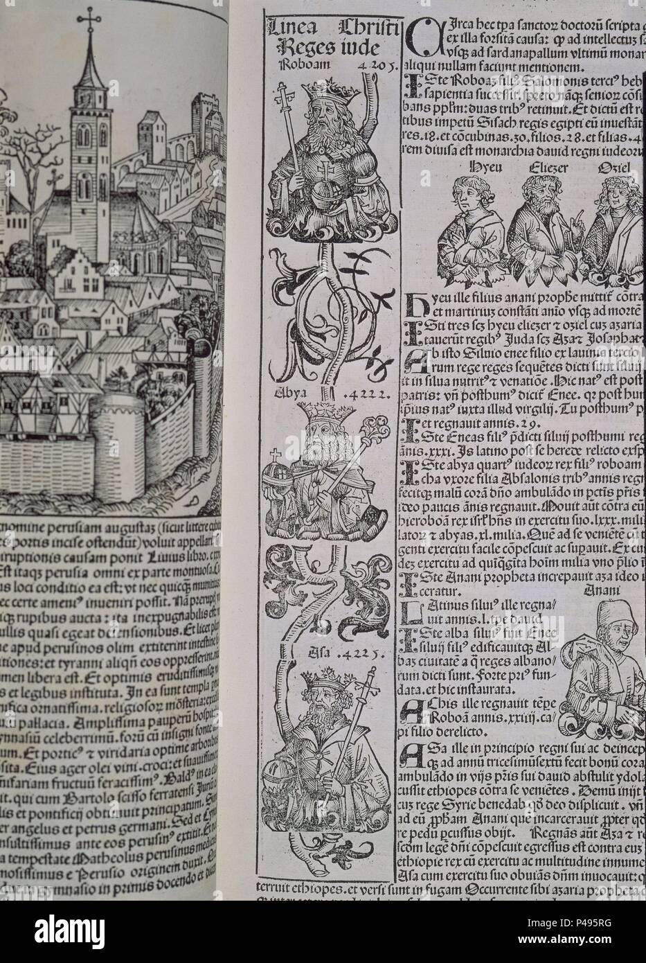 PAGINA DEL LIBER CHRONICARUM - IMPRESO EN 1493 - INCUNABLE. Author: Hartmann Schedel (1440-1514). Location: SENADO-BIBLIOTECA-COLECCION, MADRID, SPAIN. - Stock Image