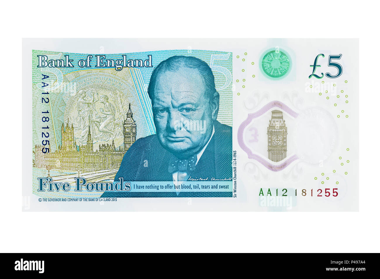 New Five Pound Note Showing Winston Churchill, UK, Cut Out - Stock Image