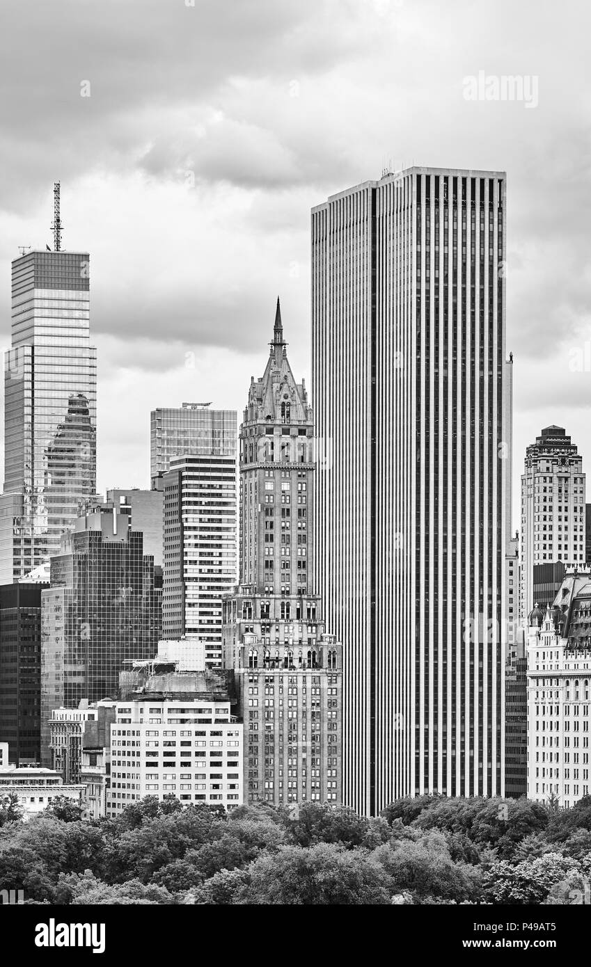 Black and white picture of New York City old and modern architecture, USA. Stock Photo