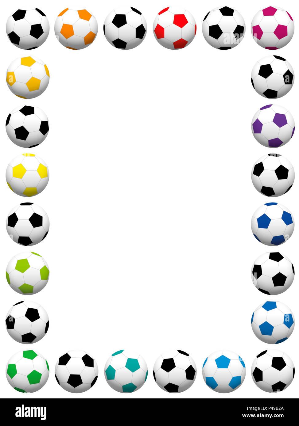 Soccer balls. Colorful vertical frame - illustration on white ...