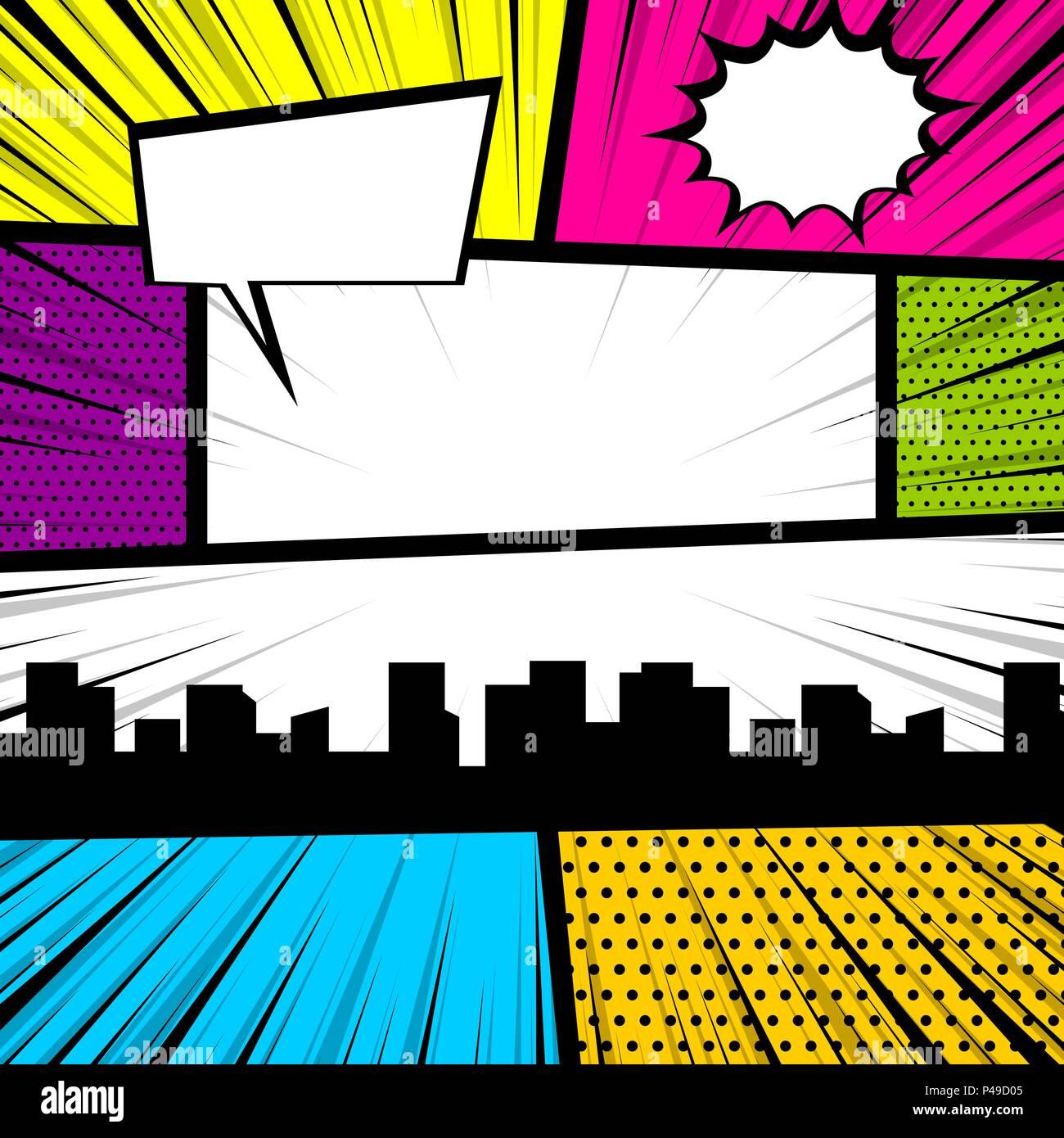 Cartoon funny vintage strip comic city view  Pop art comics