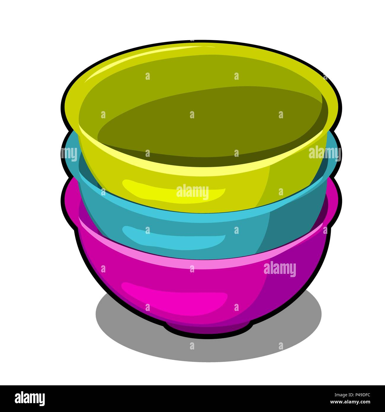 A stack of polymer bowls of different colors isolated on a white background. Cartoon vector close-up illustration. - Stock Vector