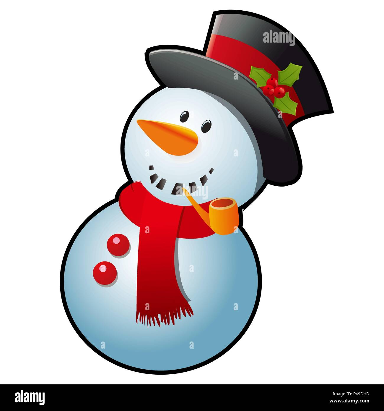 snowman in a red scarf and black cylinder hat isolated on white