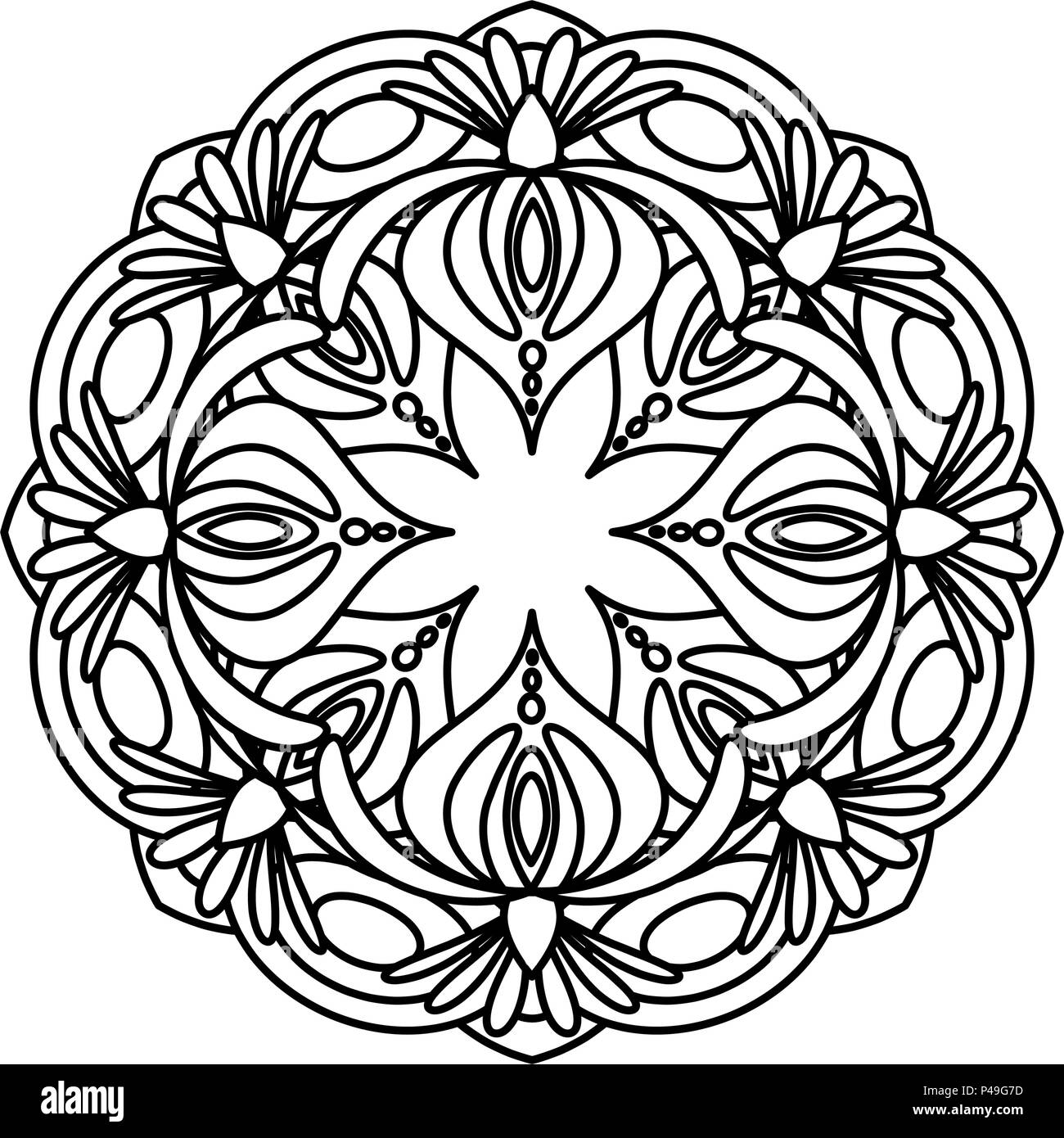 Flower Mandala Vector Illustration Adult Coloring Page Circular Abstract Floral Oriental Pattern Vintage Decorative Elements