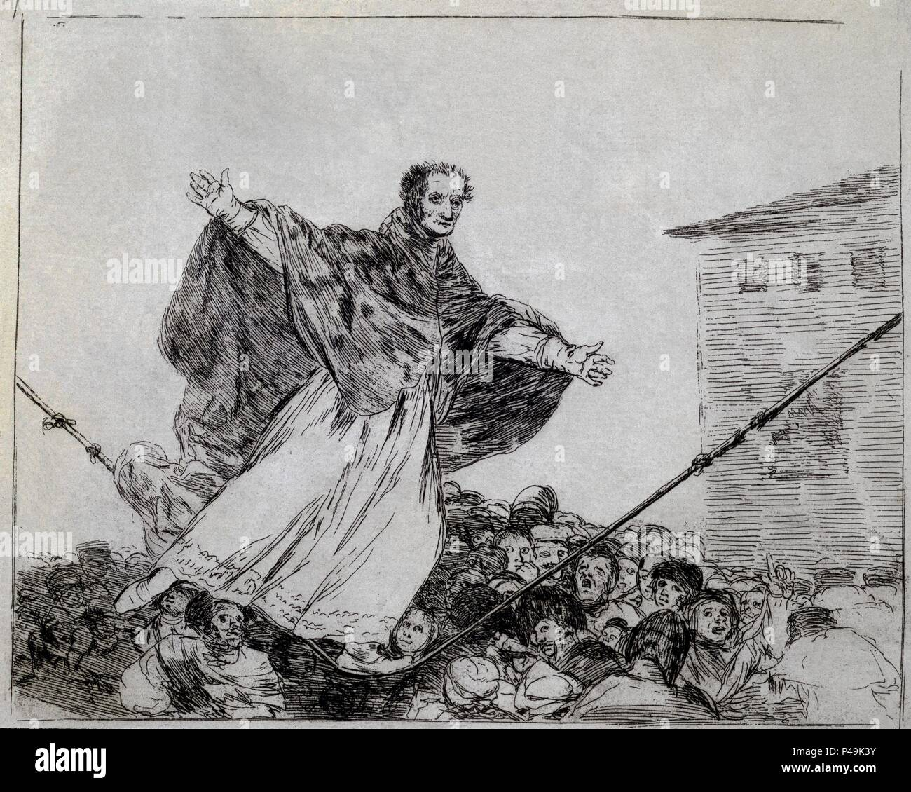 May the cord break, plate 77 of 'The Disasters of War' - 1810/14 - 17,8x22,1 cm - etching, lavis or burnished aquatint and burnisher. Author: Francisco de Goya (1746-1828). Location: MUSEUM OF FINE ARTS, BOSTON-MASSACHUSETTS. Also known as: DESASTRE Nº 77-QUE SE LE ROMPE LA CUERDA. - Stock Image