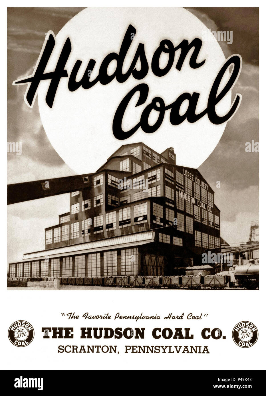This is a porcelain photo advertising sign of the Loree Colliery Larksville Pennsylvania.The Hudson Coal Company incorporated in Pennsylvania in 1871 as a subsidiary of the Delaware and Hudson Canal Company. The Hudson Coal Company figured prominently in the anthracite coal industry through the late 19th and early 20th centuries.The coal breaker began operation on June 22, 1919,In 1921 the breaker produced 1,590,201 tons of anthracite and in 1926 there were just over 3,000 employees at the colliery.Production declined in the coming decades and the breaker closed in the 1960s. Stock Photo