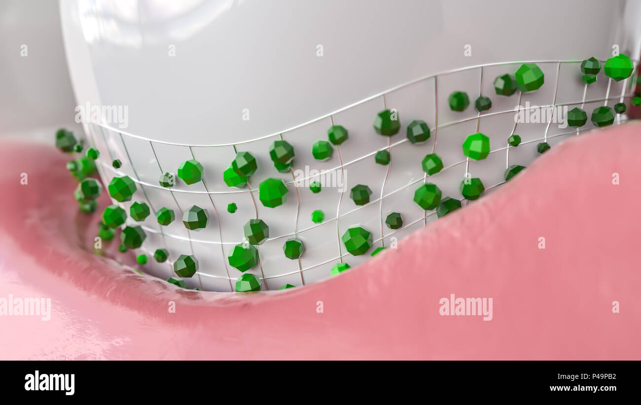 Bacteria attack tooth - 3D Rendering - Stock Image