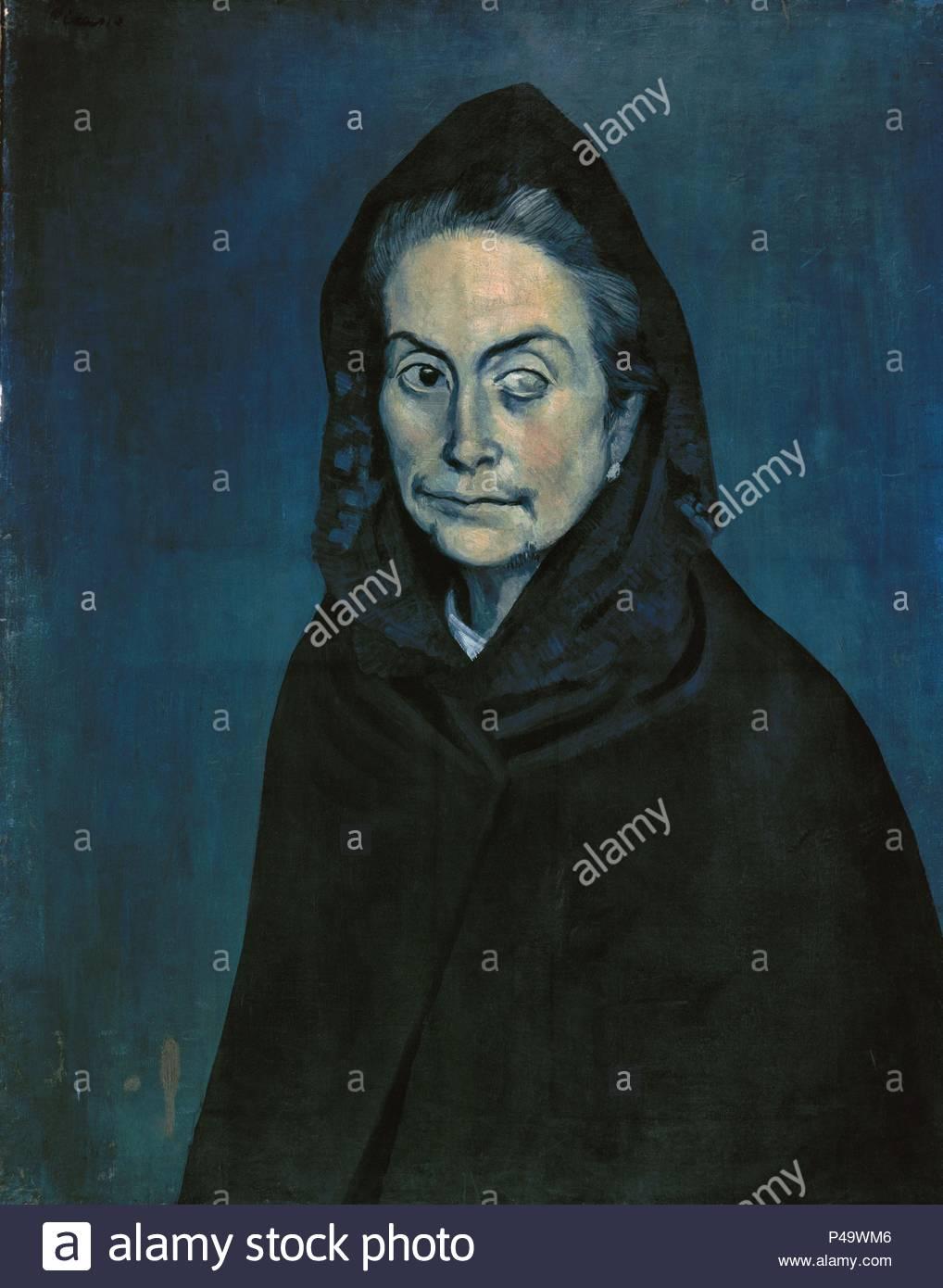 Spanish school. La Celestina . 1903. Blue Period. Oil on canvas (0.81 x 0.60 m). Paris, Private collection. Author: Pablo Picasso (1881-1973). Location: PRIVATE COLLECTION, FRANCE. - Stock Image