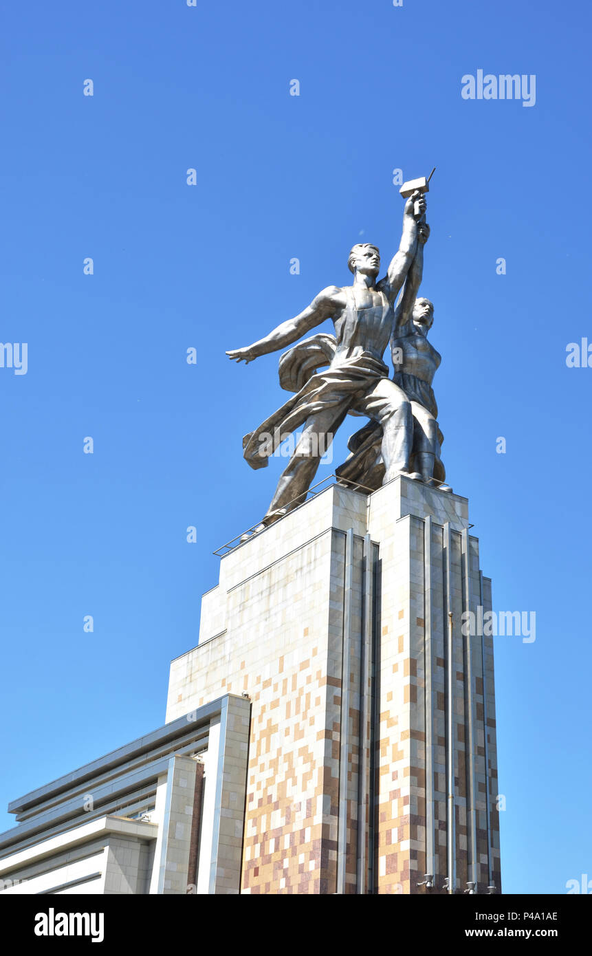 Russia, Moscow, VDNKH, May 21, 2018 - Famous Soviet monument Worker and Kolkhoz Woman (Collective Farm Woman) of sculptor Vera Mukhina. Made of stainl - Stock Image