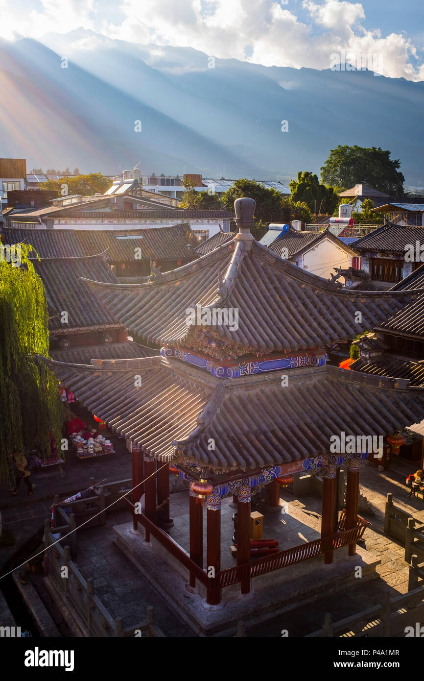 Top view of Chinese Traditional Tiled roofs in Dali, Yunnan Province, China, Asia, Asian, East Asia, Far East - Stock Image