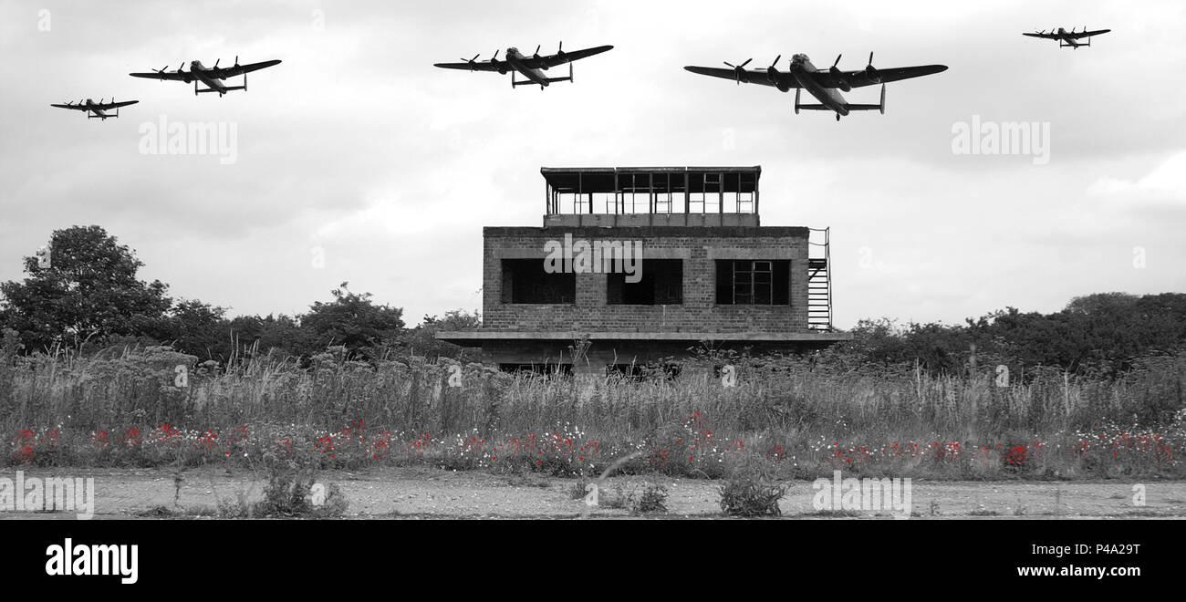 Lancaster bombers flying over RAF Coleby Grange - Stock Image