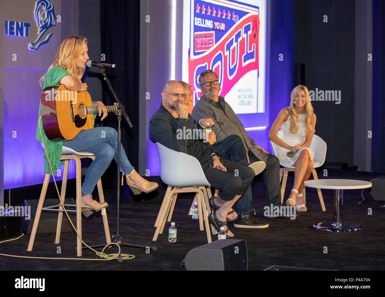 Cannes, France, 21 June 2018, Jessi Alexander, Anthony 'Chusy' Haney-Jardine, Butch Spyridon,John Godsey and Allison Pierce attend - Selling with Soul: Making Authentic Connections Through Story and Song at Cannes Lions Festival - International Festival of Creativity © ifnm / Alamy Live News - Stock Image