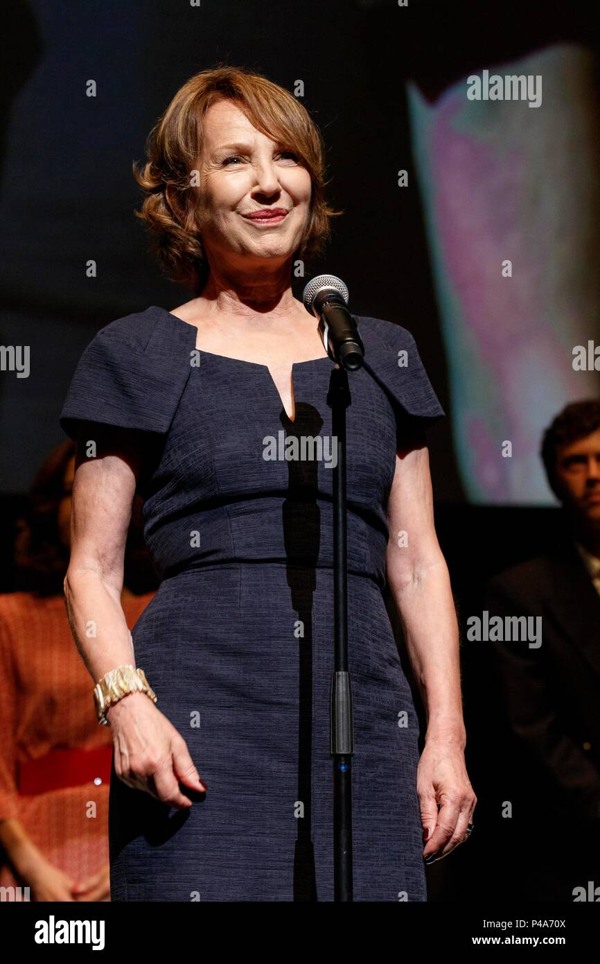 French actress Nathalie Baye speaks during the opening