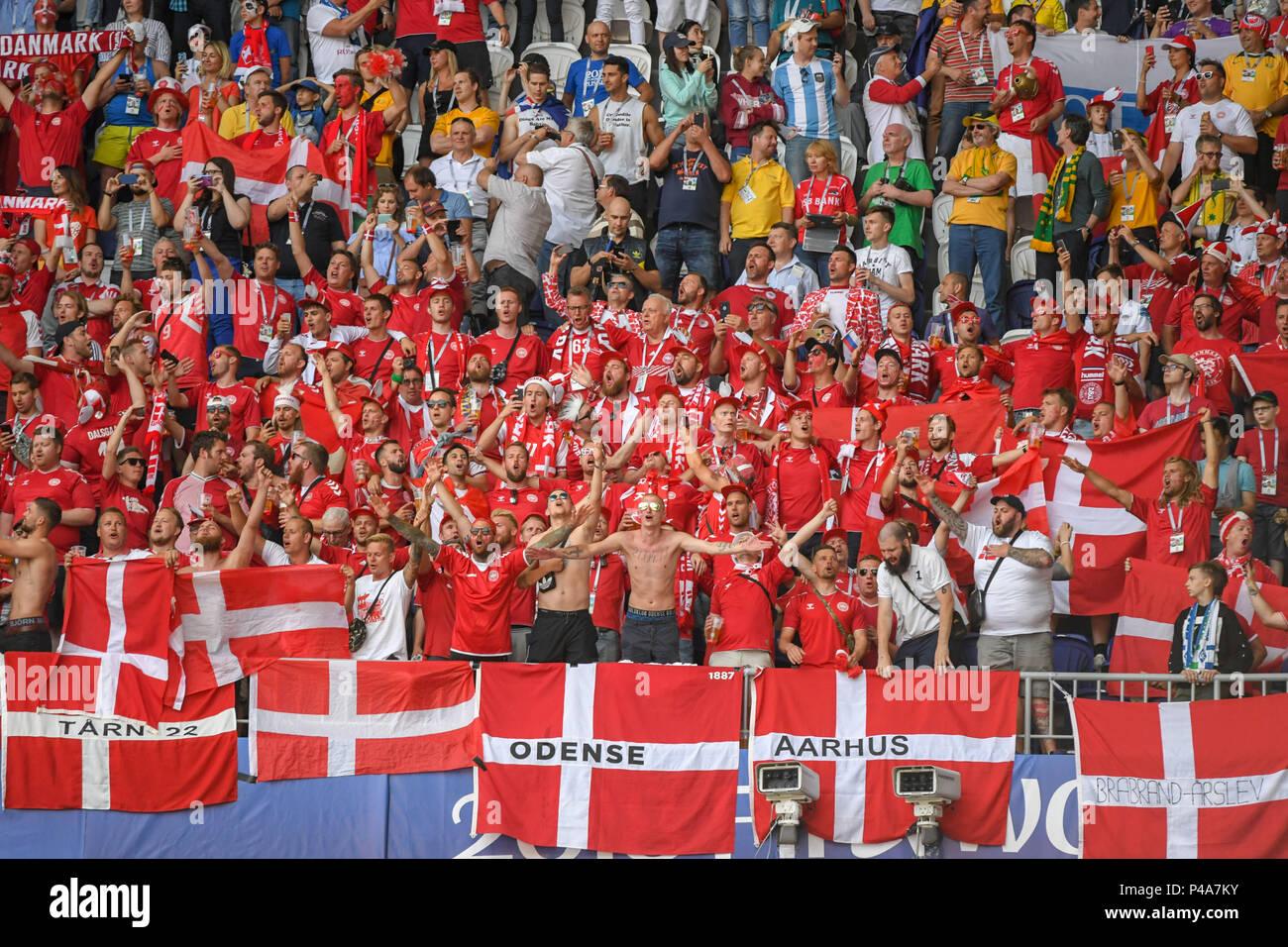 Samara Arena, Samara, Russia. 21st June, 2018. FIFA World Cup Football, Group C Denmark versus Australia; Danish fans massed ready for the game Credit: Action Plus Sports/Alamy Live News Stock Photo