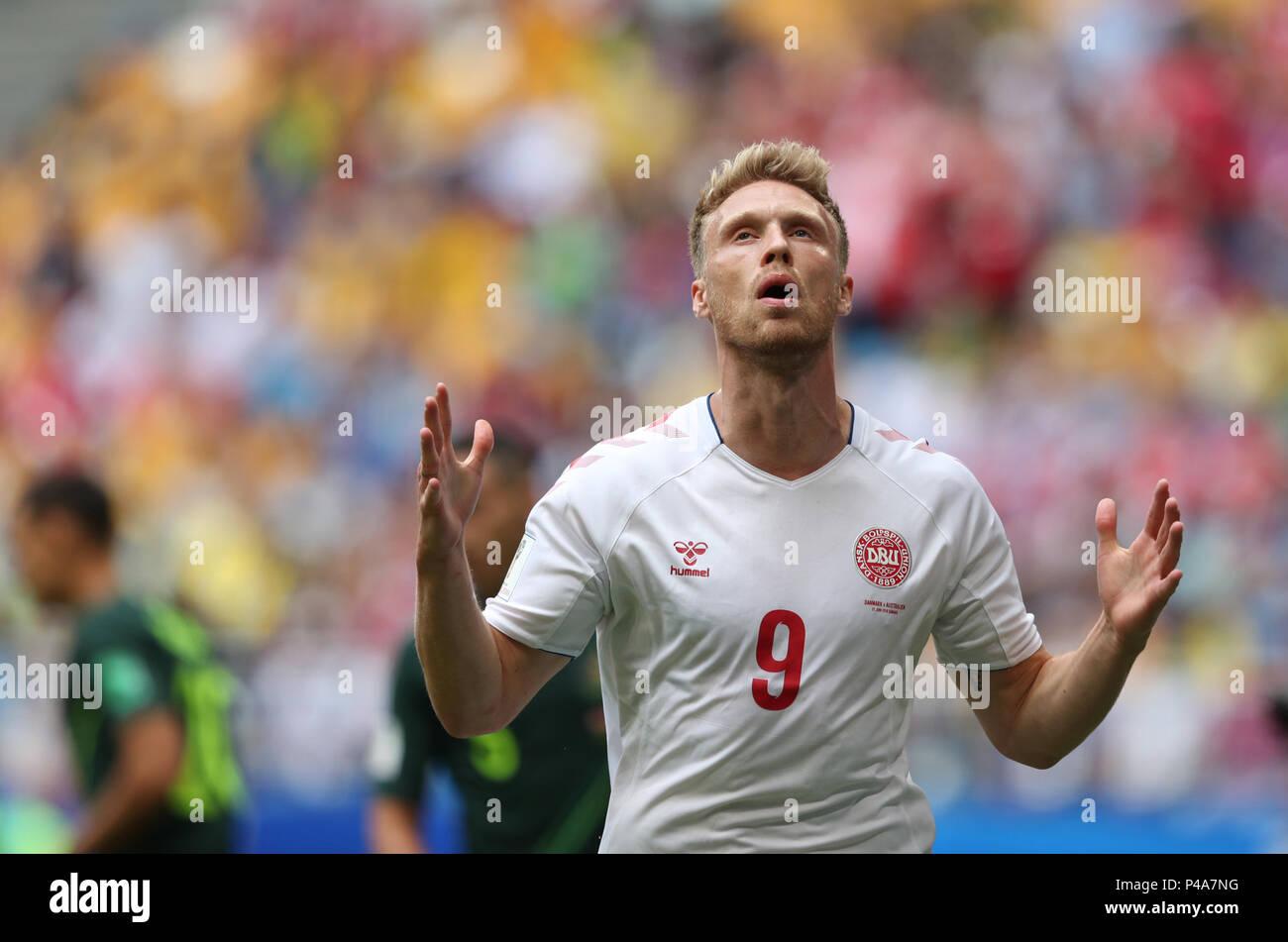 Samara, Russia. 21st June, 2018. Nicolai Jorgensen of Denmark reacts during the 2018 FIFA World Cup Group C match between Denmark and Australia in Samara, Russia, June 21, 2018. Credit: Ye Pingfan/Xinhua/Alamy Live News - Stock Image