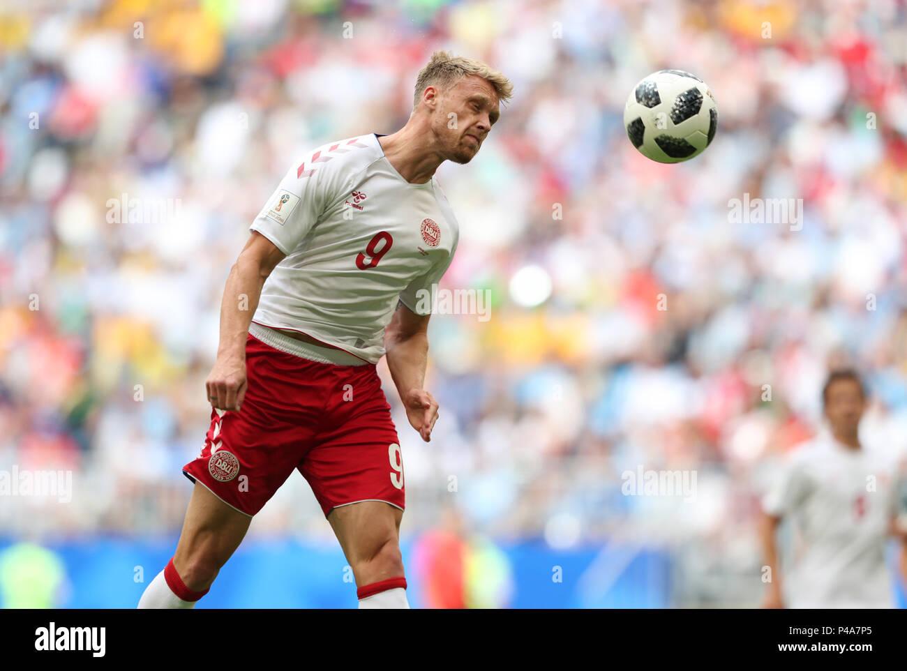 Samara, Russia. 21st June, 2018. Nicolai Jorgensen of Denmark competes during the 2018 FIFA World Cup Group C match between Denmark and Australia in Samara, Russia, June 21, 2018. Credit: Ye Pingfan/Xinhua/Alamy Live News - Stock Image