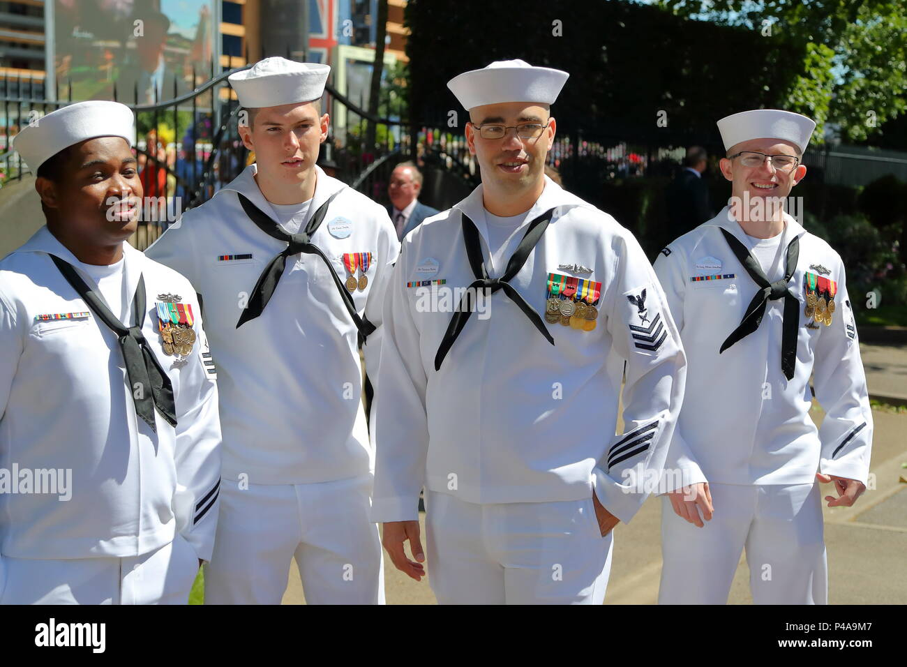 Ascot, UK. 21st June 2018. Four Sailors on their Way to the Races. Credit: Uwe Deffner/Alamy Live News - Stock Image