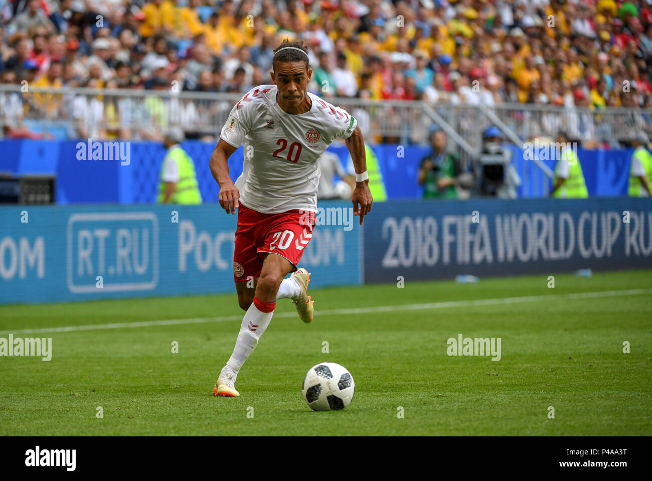 Samara Arena, Samara, Russia. 21st June, 2018. FIFA World Cup Football, Group C Denmark versus Australia; Yussuf Yurary Poulsen of Denmark Credit: Action Plus Sports/Alamy Live News Stock Photo
