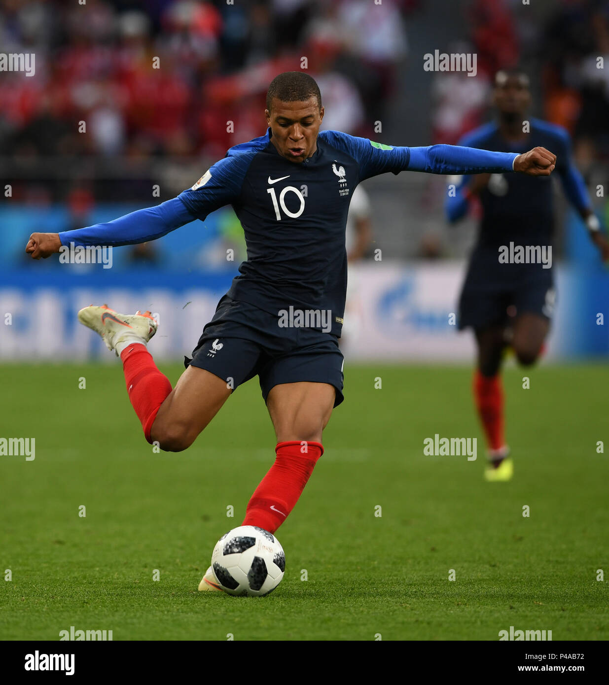 Yekaterinburg, Russia. 21st June, 2018. Kylian Mbappe of France competes during the 2018 FIFA World Cup Group C match between France and Peru in Yekaterinburg, Russia, June 21, 2018. Credit: Du Yu/Xinhua/Alamy Live News Stock Photo