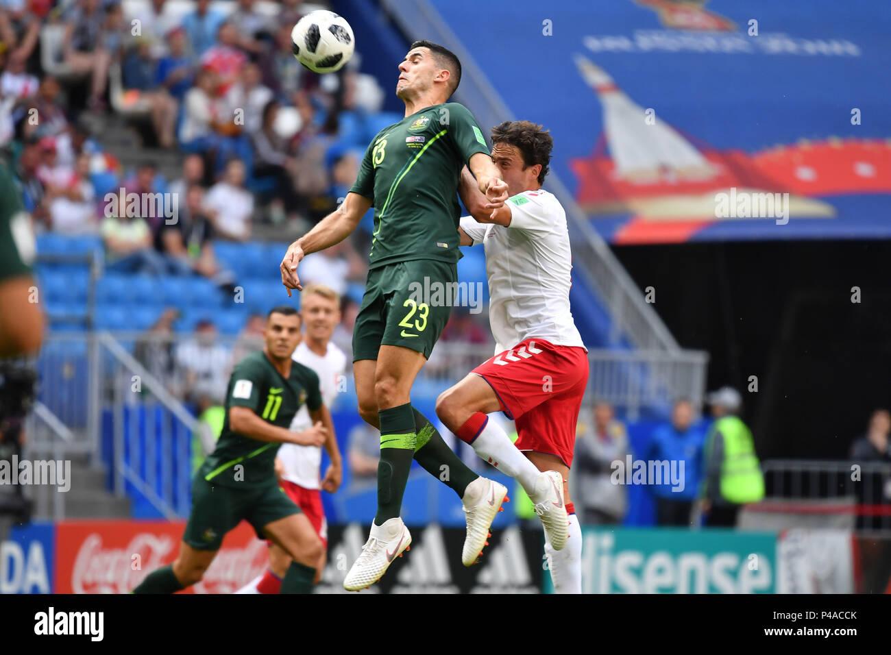 Samara, Russland. 21st June, 2018. Tom ROGIC (AUS), Action, duels versus Thomas DELANEY (DEN), Header. Denmark (DEN) - Australia (AUS) 1-1, Preliminary Round, Group C, Match 22, on 21.06.2018 in Samara, Samara Arena. Football World Cup 2018 in Russia from 14.06. - 15.07.2018. | usage worldwide Credit: dpa/Alamy Live News - Stock Image