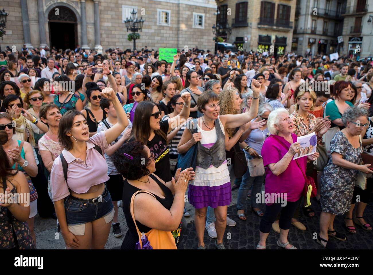 Barcelona Spain 21st June 2018 Hundreds Of People Attend A Protest Against The Judicial Decision To Grant The Release On Bail To The Five Men Accused Of Gang Raping A Woman Back