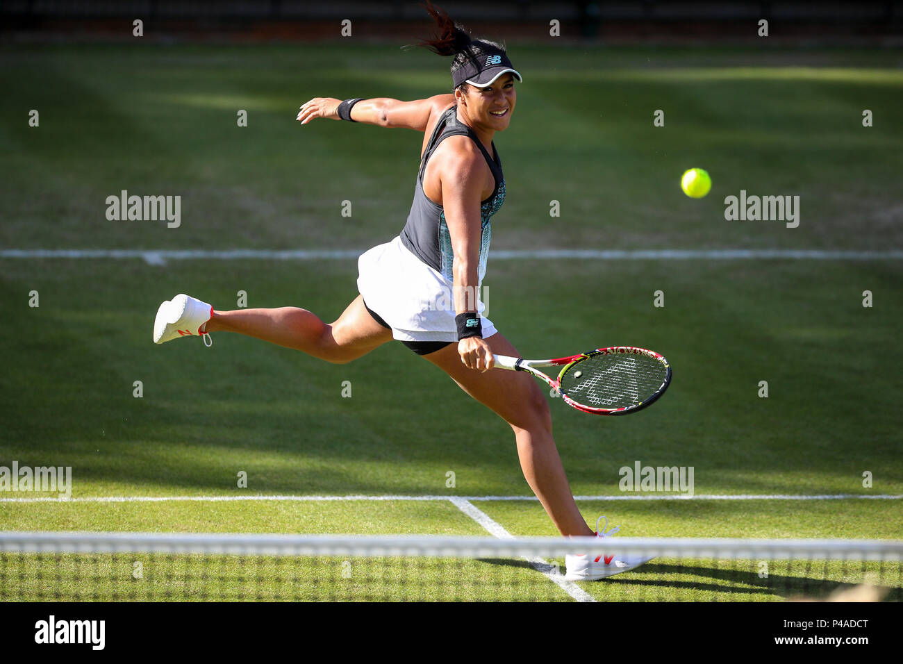 Edgbaston Priory Club, Birmingham, UK. 21st June, 2018. Nature Valley Classic Tennis; Heather Watson (GBR) hits a running backhand in the match against Barbora Krejcikova (CZE) and Katerina Siniakova (CZE) Credit: Action Plus Sports/Alamy Live News - Stock Image