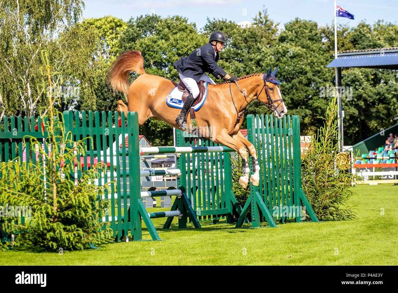 William Funnell  riding Billy Dynamo.  GBR. The Bunn Lesiure Tankard. CSI4*. The Al Shira'aa Hickstead Derby Meeting. Showjumping. The All England Jumping Course. Hickstead. West Sussex. UK. Day 2. 21/06/2018. - Stock Image