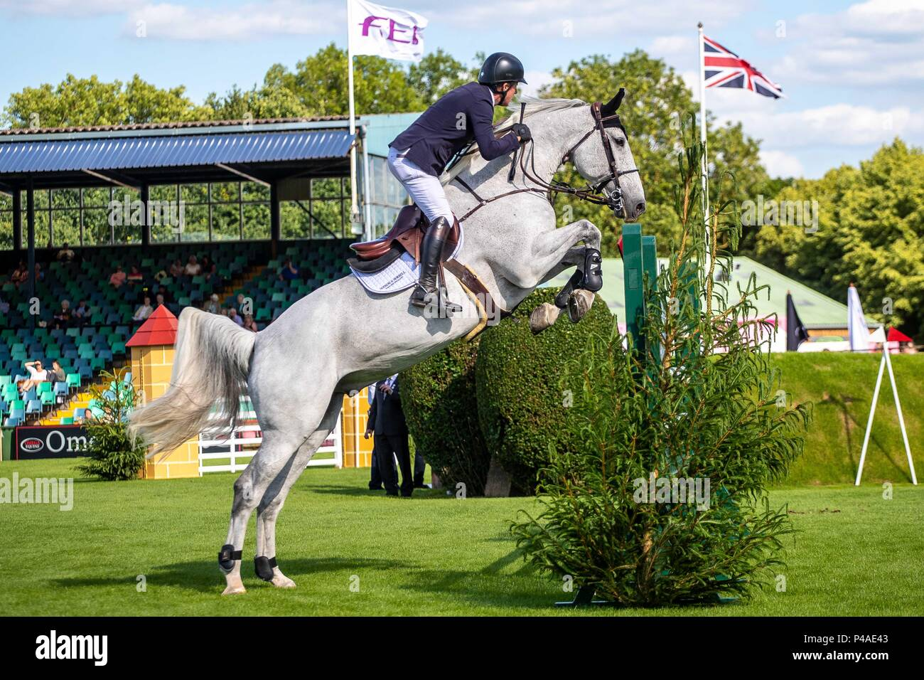 Michael Whitaker riding Flawless.  GBR. The Bunn Lesiure Tankard. CSI4*. The Al Shira'aa Hickstead Derby Meeting. Showjumping. The All England Jumping Course. Hickstead. West Sussex. UK. Day 2. 21/06/2018. - Stock Image