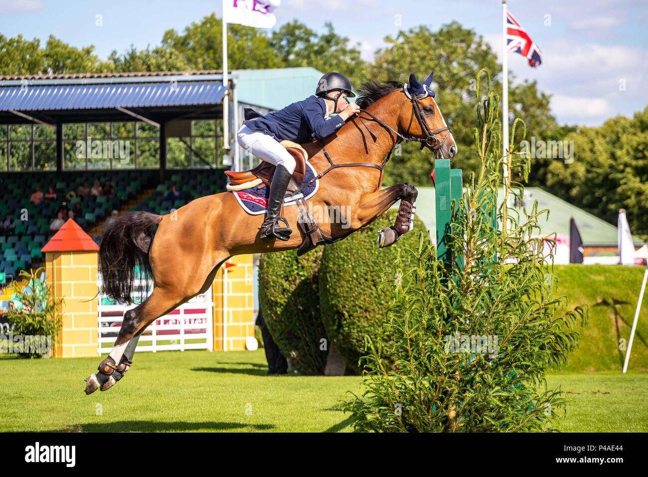 Harry Charles riding Controe.  GBR. The Bunn Lesiure Tankard. CSI4*. The Al Shira'aa Hickstead Derby Meeting. Showjumping. The All England Jumping Course. Hickstead. West Sussex. UK. Day 2. 21/06/2018. - Stock Image