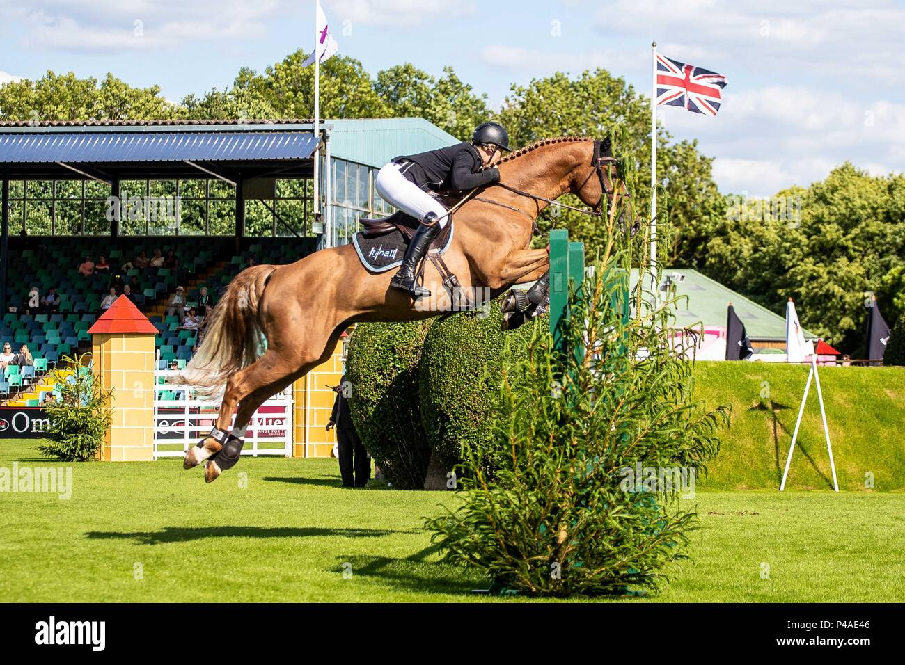 Holly Smith riding Fruselli.  GBR. The Bunn Lesiure Tankard. CSI4*. The Al Shira'aa Hickstead Derby Meeting. Showjumping. The All England Jumping Course. Hickstead. West Sussex. UK. Day 2. 21/06/2018. - Stock Image