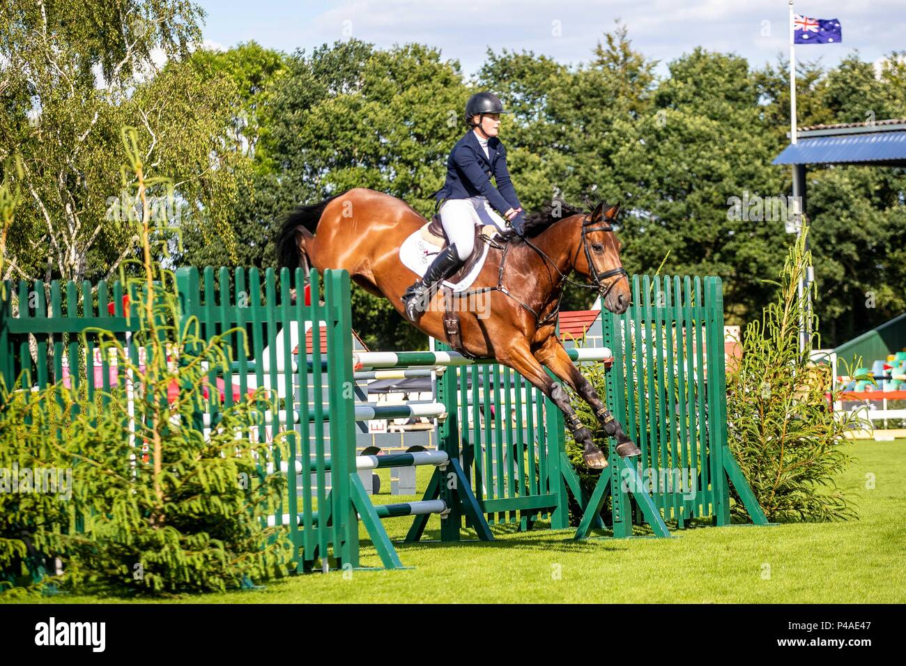 Elizabeth Power riding Doonaveeragh  O One. IRL. The Bunn Lesiure Tankard. CSI4*. The Al Shira'aa Hickstead Derby Meeting. Showjumping. The All England Jumping Course. Hickstead. West Sussex. UK. Day 2. 21/06/2018. - Stock Image