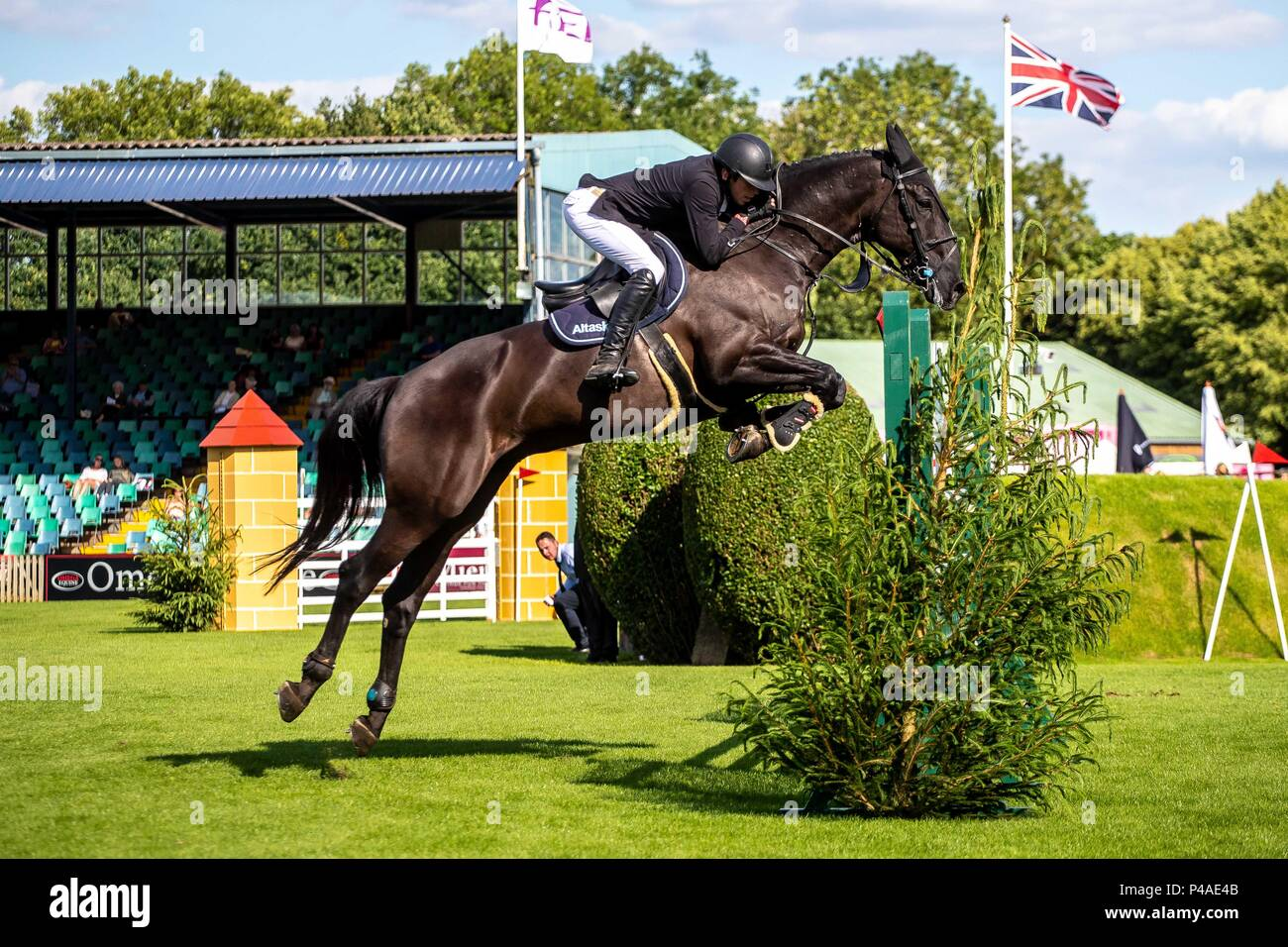Michael Pender riding Casanova Van Overis Z. IRL. The Bunn Lesiure Tankard. CSI4*. The Al Shira'aa Hickstead Derby Meeting. Showjumping. The All England Jumping Course. Hickstead. West Sussex. UK. Day 2. 21/06/2018. - Stock Image