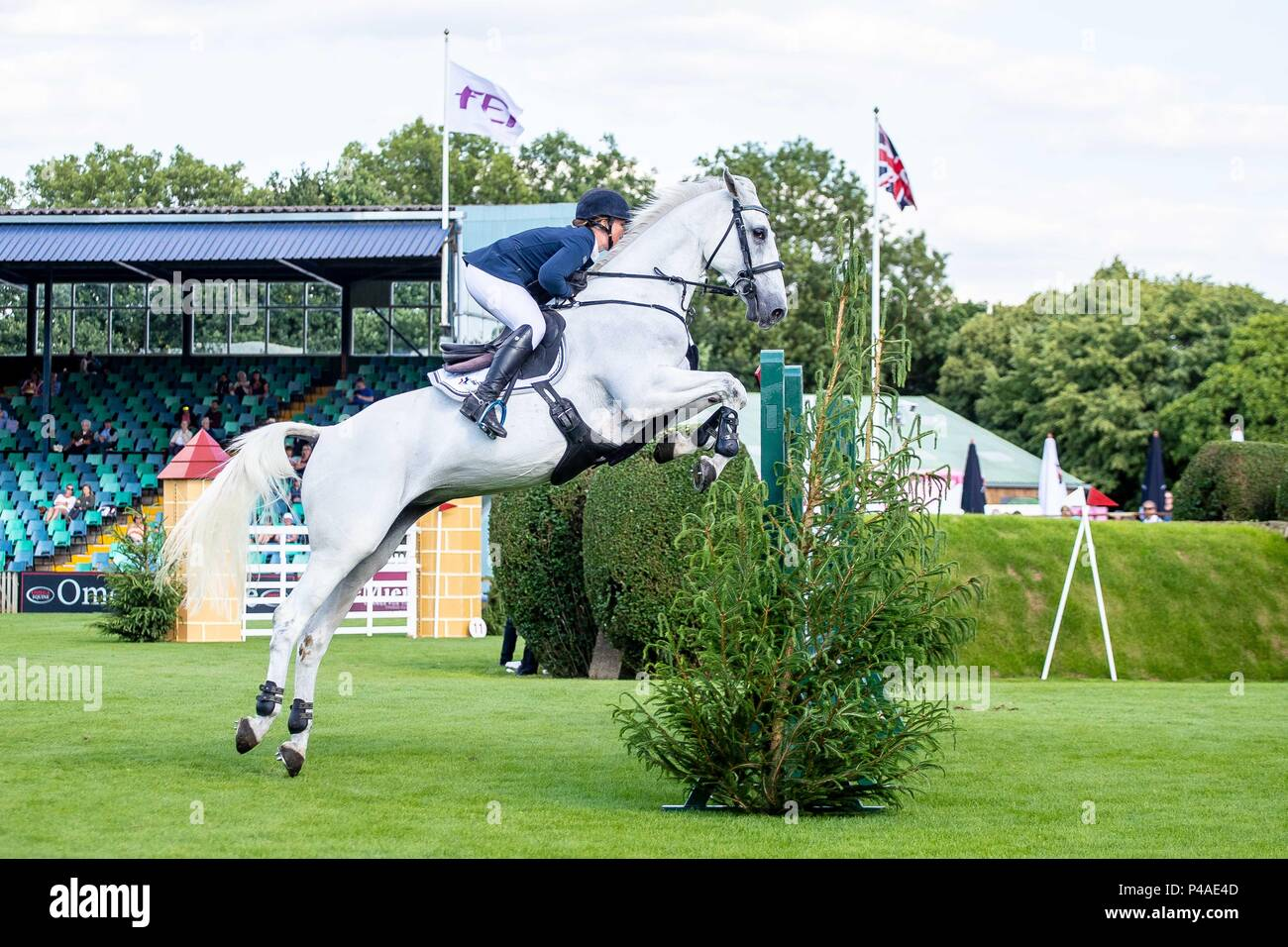 Sammie Jo Coffin riding Bellany ll. GBR. The Bunn Lesiure Tankard. CSI4*. The Al Shira'aa Hickstead Derby Meeting. Showjumping. The All England Jumping Course. Hickstead. West Sussex. UK. Day 2. 21/06/2018. - Stock Image