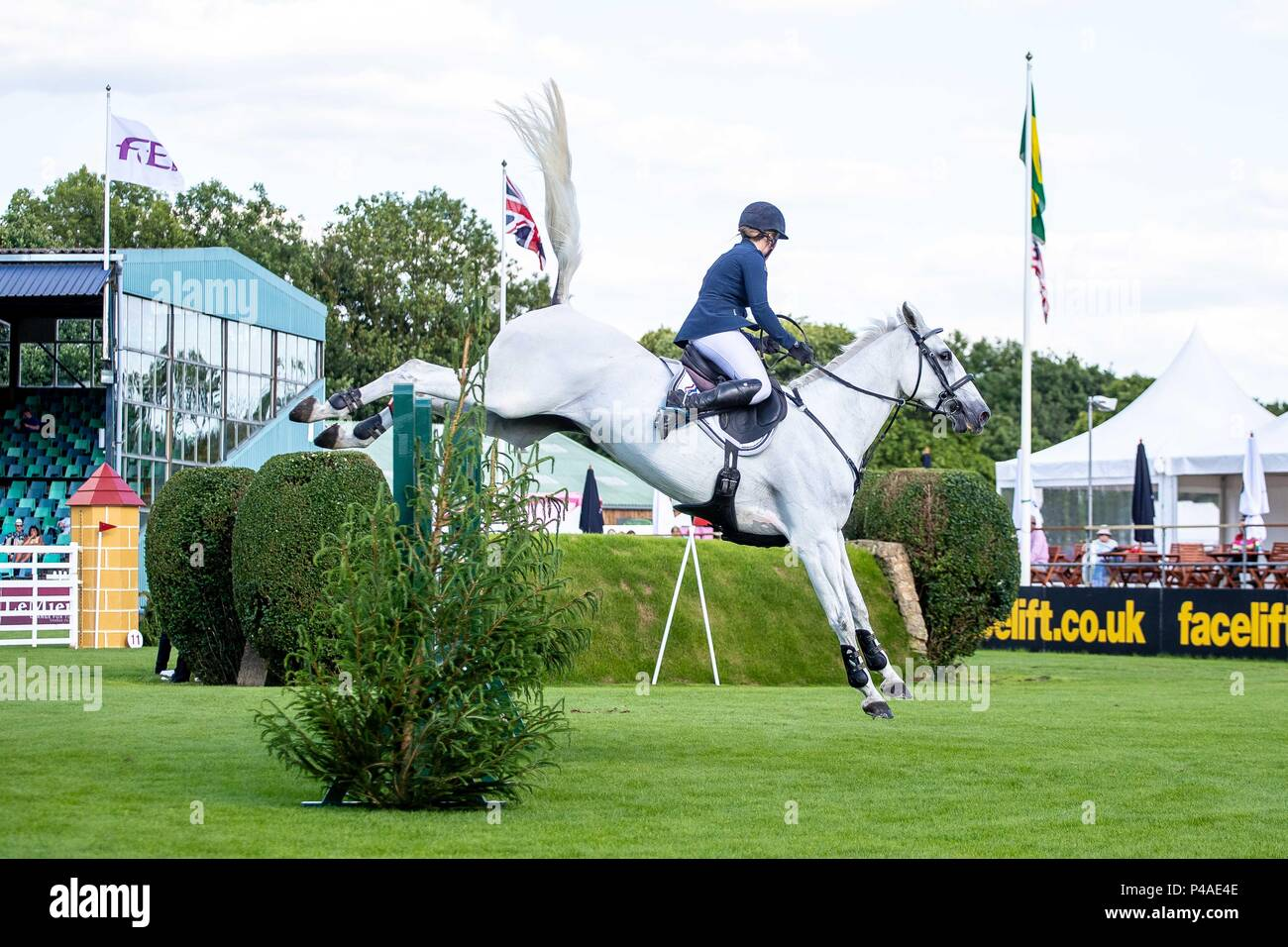 Sammie Jo Coffin riding Bellany ll. GBFR. The Bunn Lesiure Tankard. CSI4*. The Al Shira'aa Hickstead Derby Meeting. Showjumping. The All England Jumping Course. Hickstead. West Sussex. UK. Day 2. 21/06/2018. - Stock Image