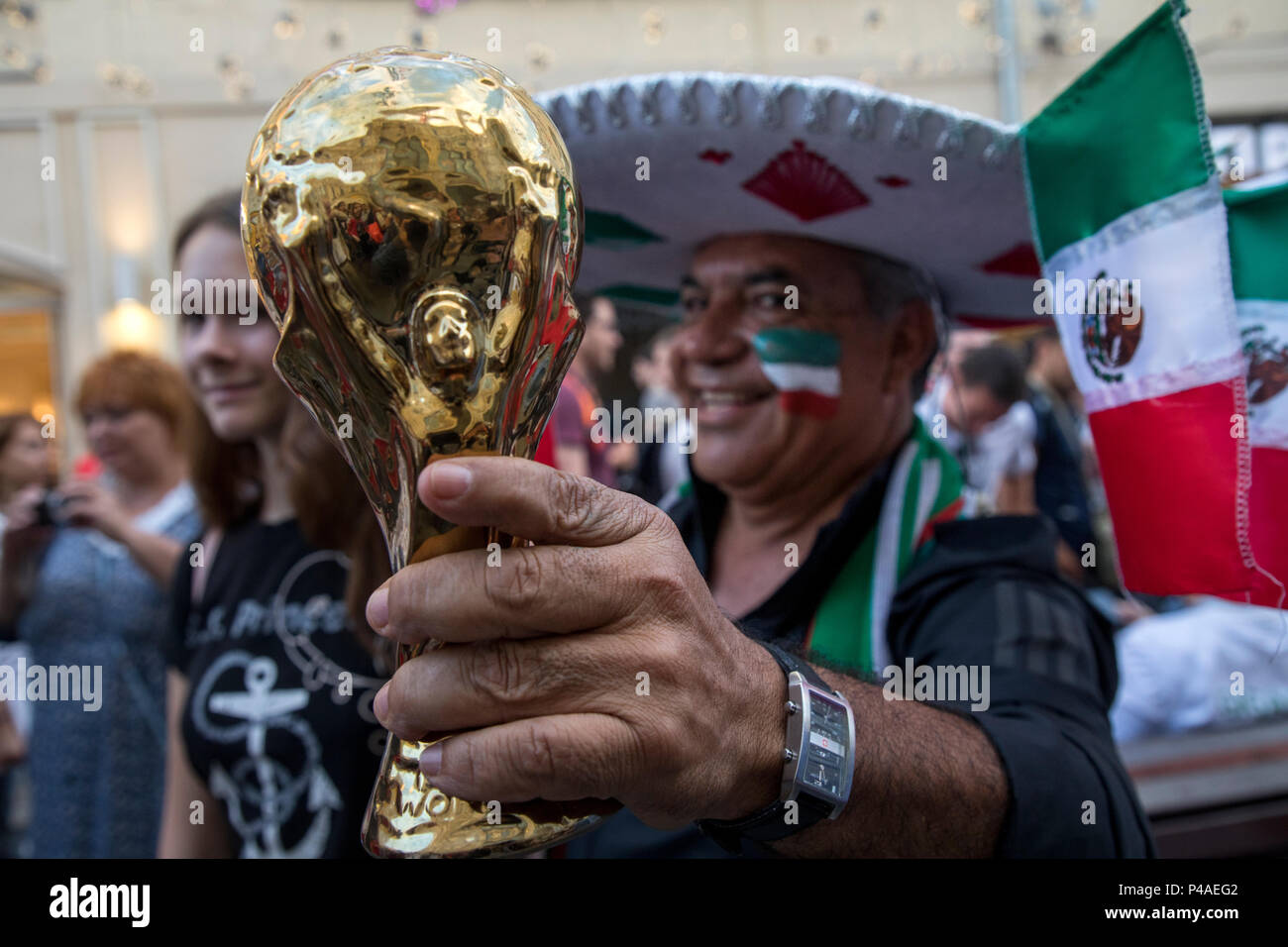 Moscow, Russia. 21st June, 2018. Mexican football fans cheer on Nikolskaya street during The World Cup Tournament in Moscow, Russia Stock Photo