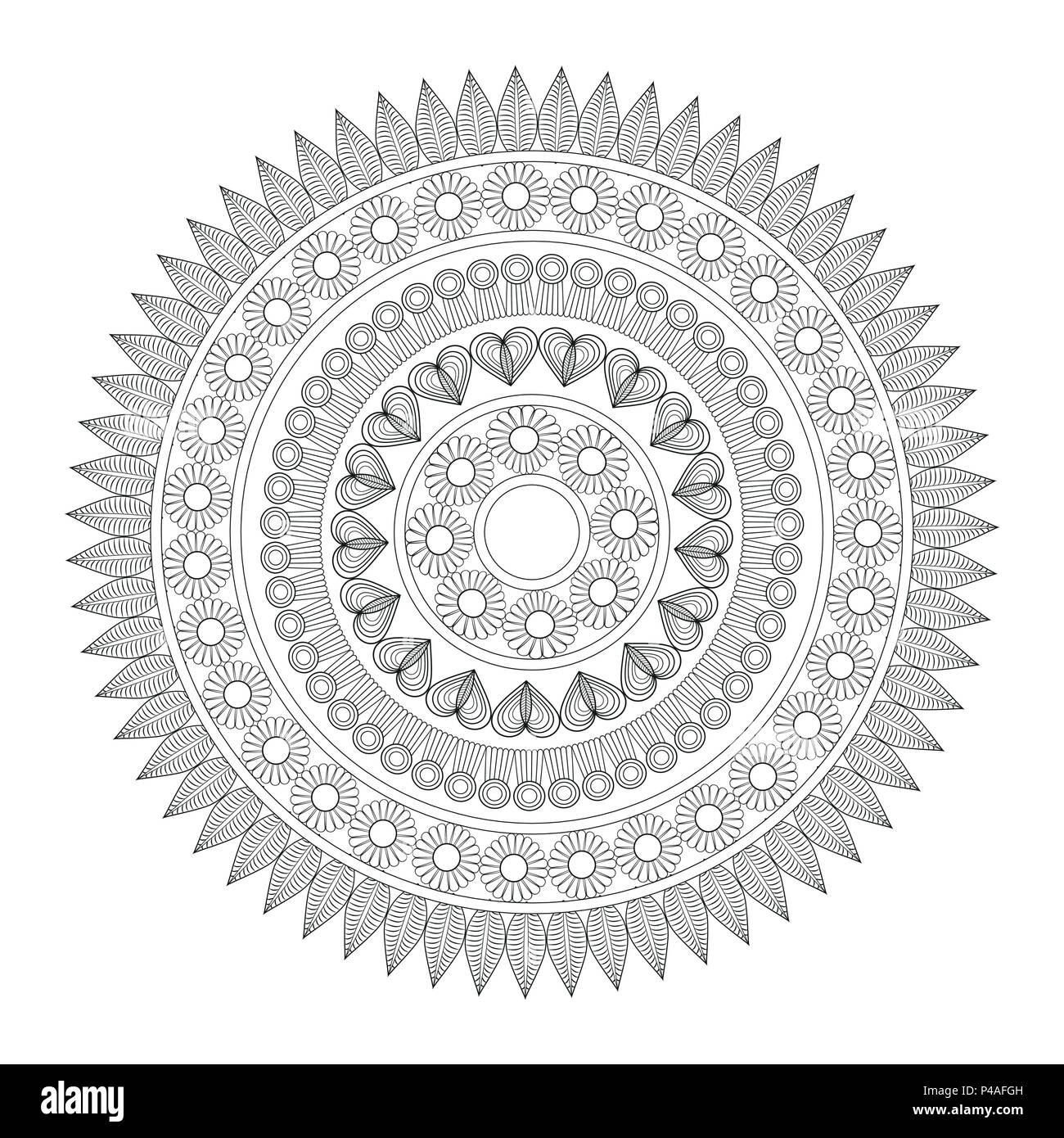 Mandala indian emblem - Stock Image