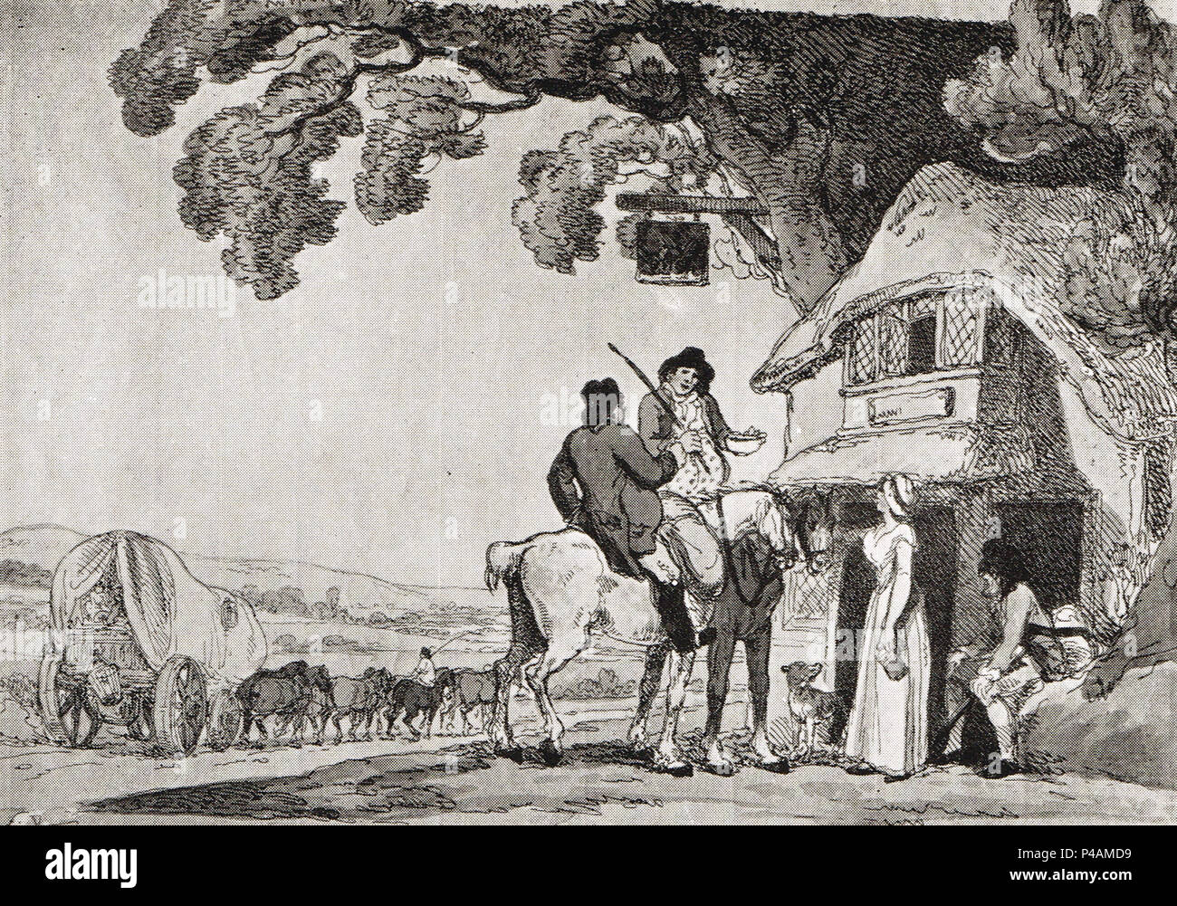 Travellers taking refreshment at a country Alehouse, while a stage-Wagon passes by, circa 1800 - Stock Image