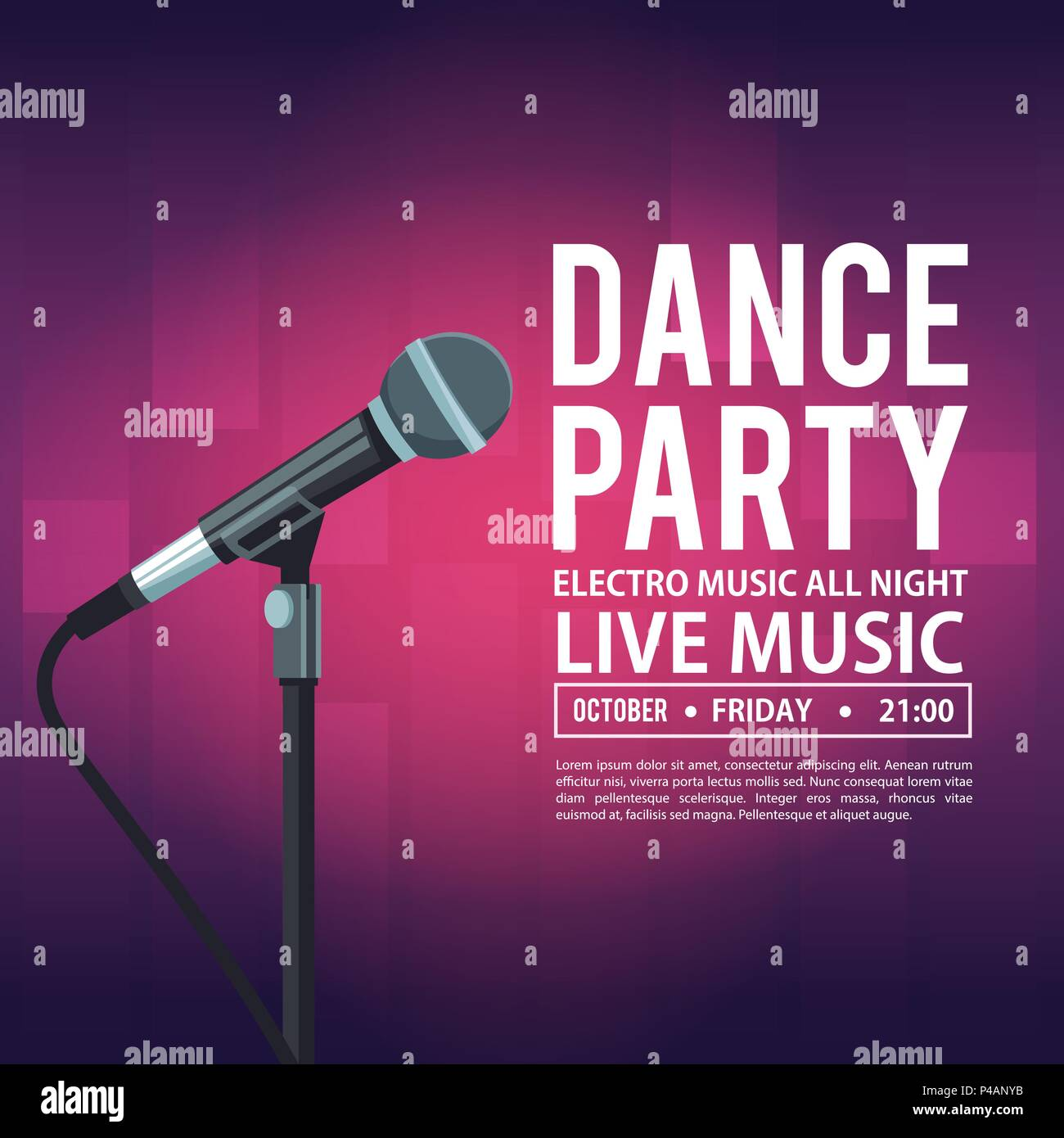 Dj Music Party Poster Background Stock Photos & Dj Music