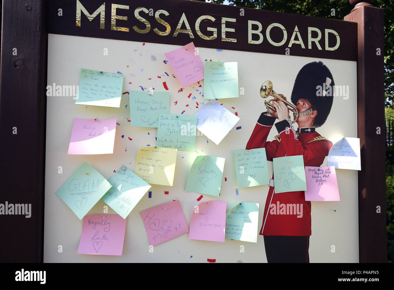 General view of the message board during day three of Royal