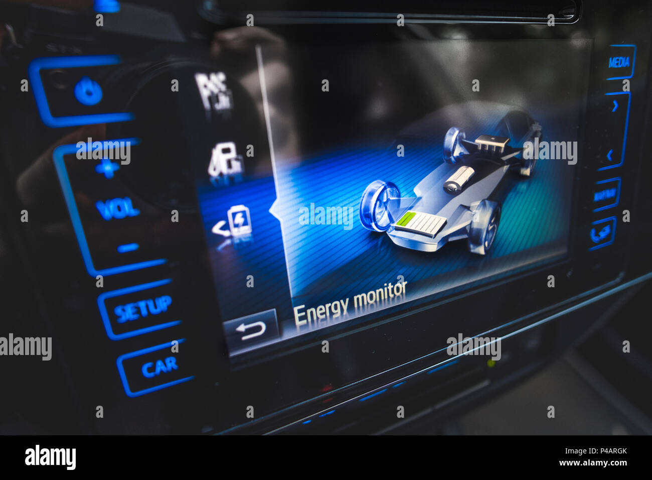 energy monitor hybrid car - Stock Image