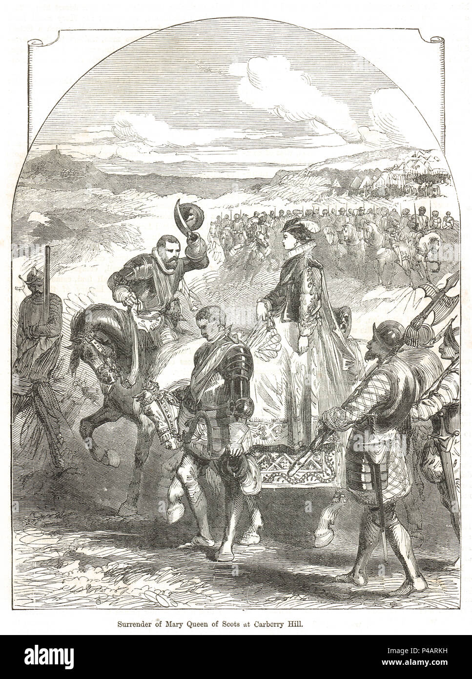The surrender of Mary Queen of Scots, Battle of Carberry Hill, 15 June 1567 - Stock Image