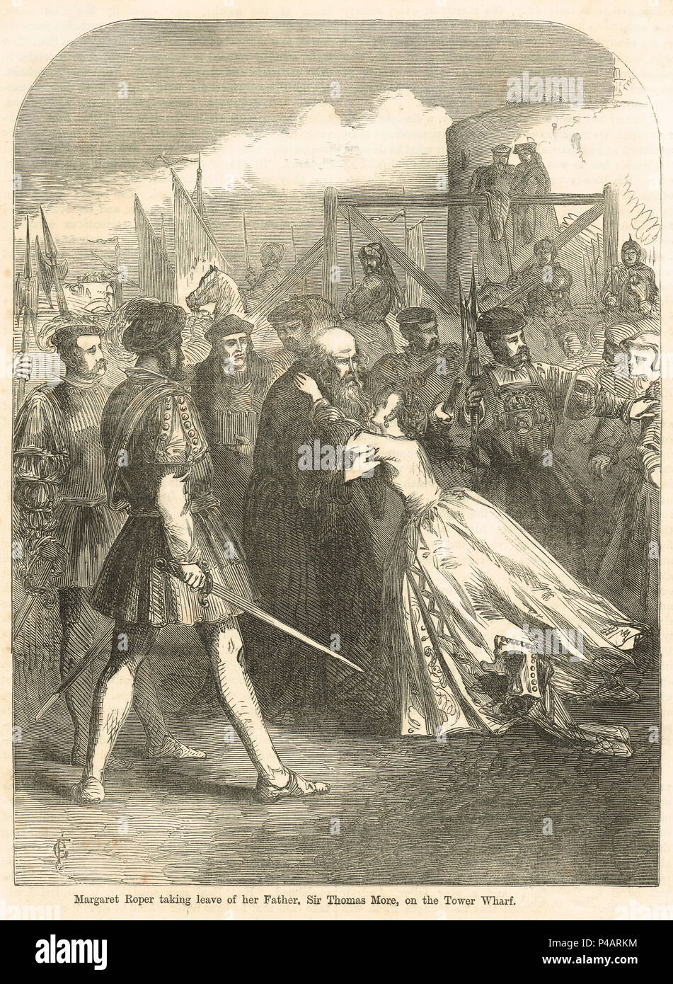 Margaret Roper taking leave of her father, Sir Thomas More, Tower Wharf, at his execution 6 July 1535 - Stock Image