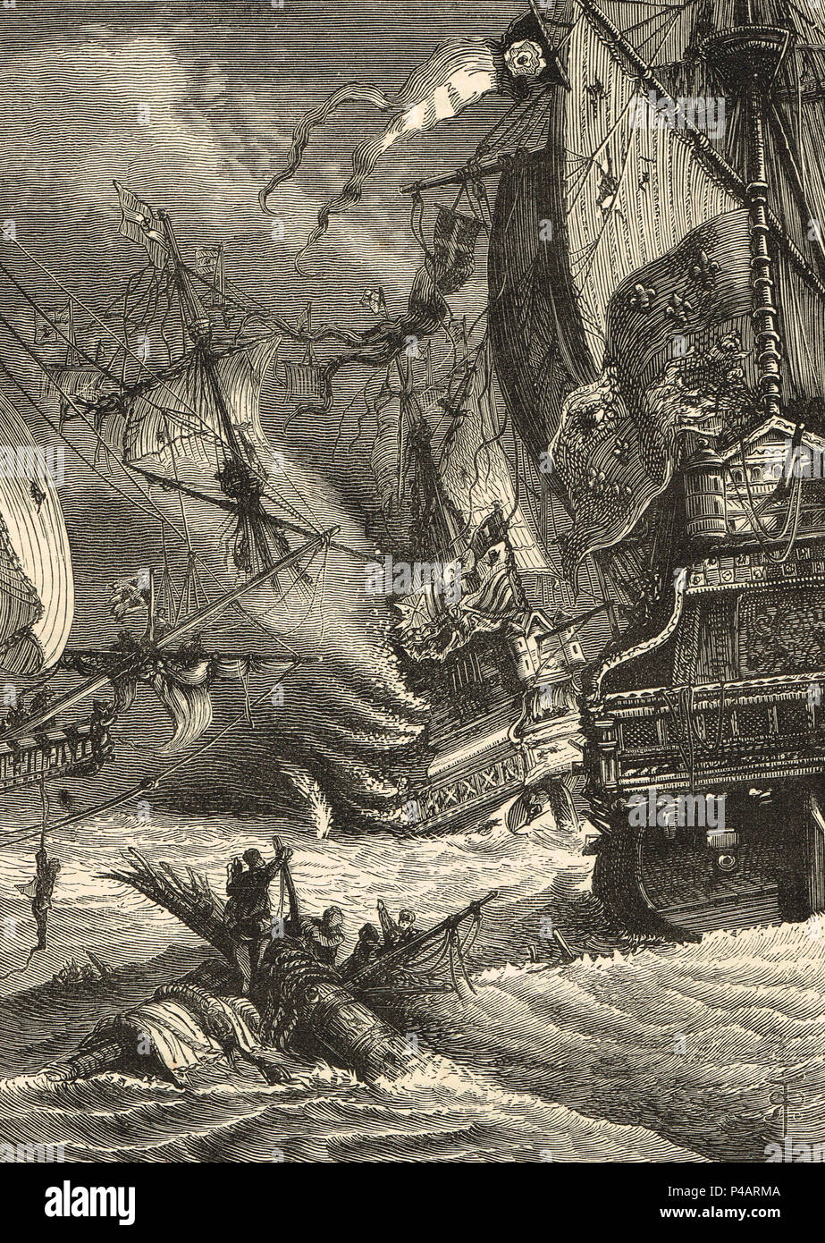 Destruction and Defeat of the Spanish Armada, 1588 - Stock Image